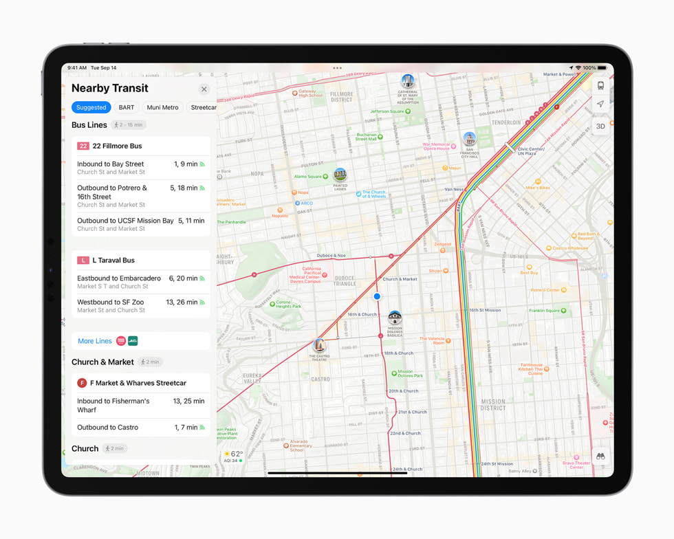 The redesigned Maps displayed on iPad Pro.