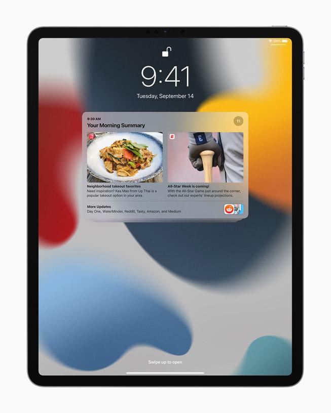 A notification summary on iPad Pro.