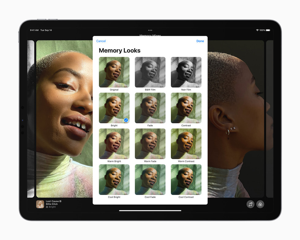 The redesigned Memories experience displayed on iPad Pro.