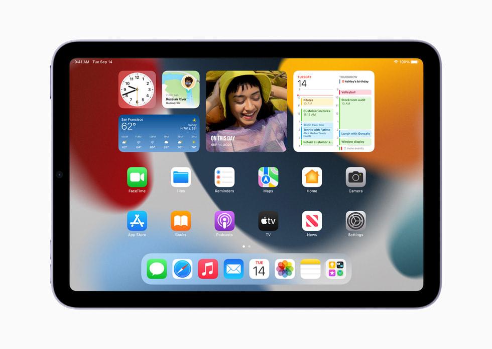The new Home Screen design on iPad mini.