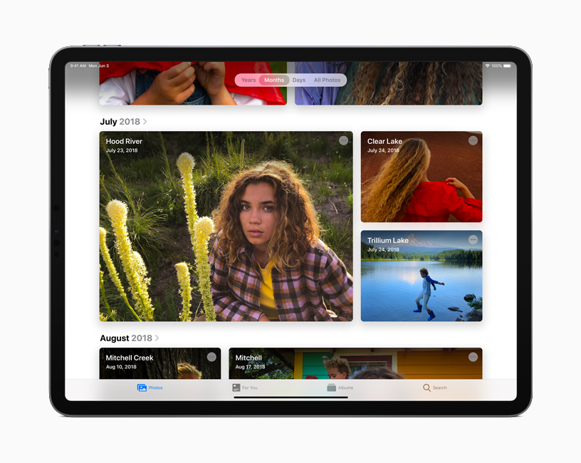 The curated Photos gallery view in iPadOS.