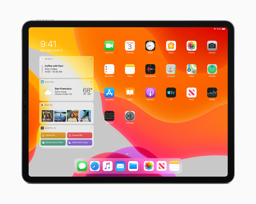The new Home screen in iPadOS displaying Calendar, Weather and Photos in the Today View.