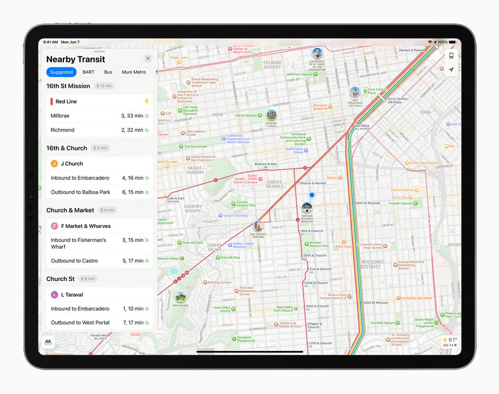 New Maps design in iPadOS 15 displayed on iPad Pro.
