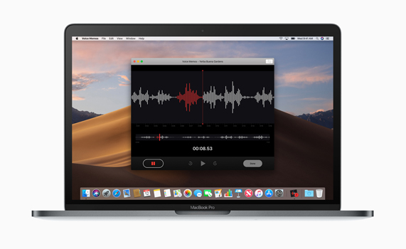Voice Memos app on MacBook Pro desktop.