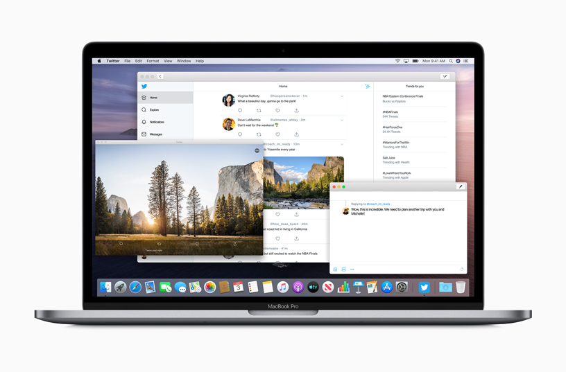 MacBook Pro con diverse finestre dell'app aperte.