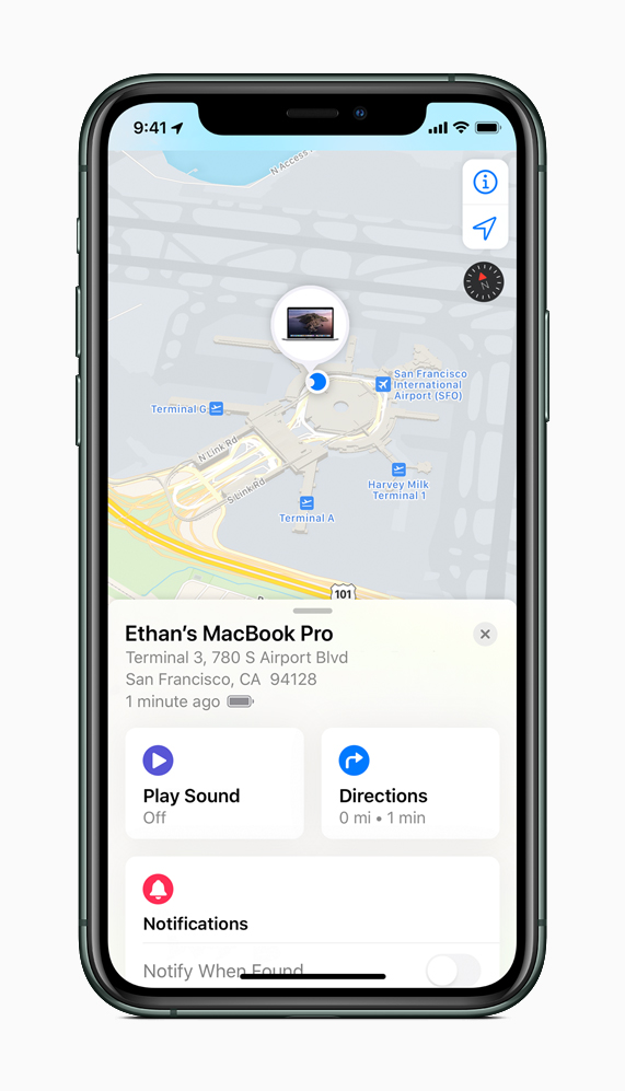 The Find My app on an iPhone can be used to find a missing Mac.