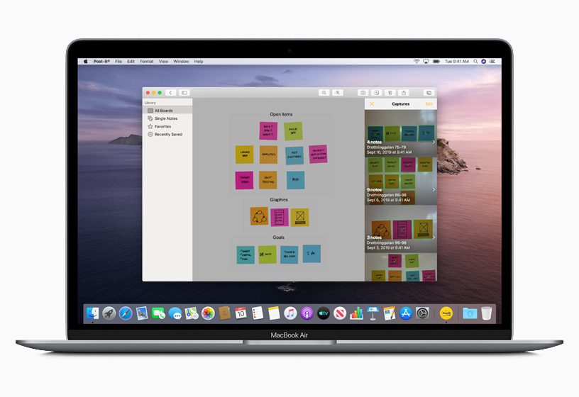 App Post-it creada con Mac Catalyst.