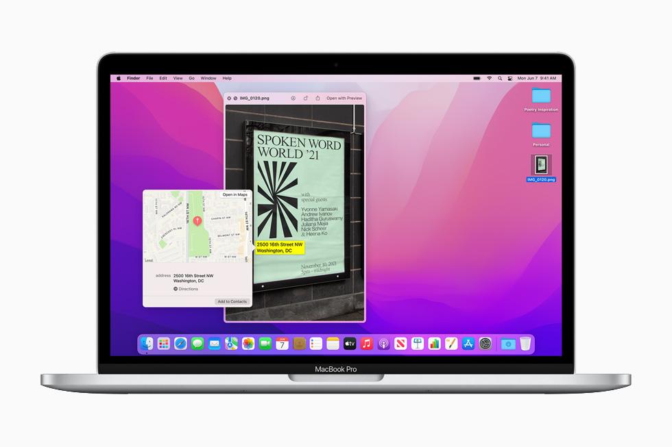 13インチMacBook Proに表示されているmacOS Montereyの「テキストの認識表示」機能と「画像を調べる」機能。