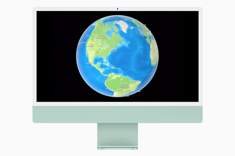 New interactive globe in Maps, displayed on iMac.