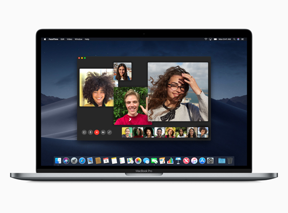 Demostración de la aplicación FaceTime multivía en un MacBook