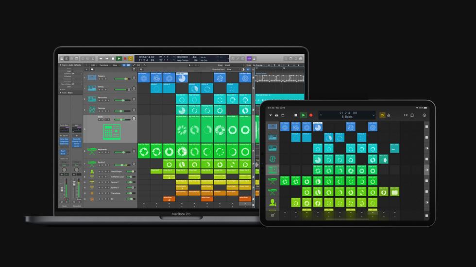 MacBook Pro 和 iPad Pro 上顯示 Logic Pro X 10.5。