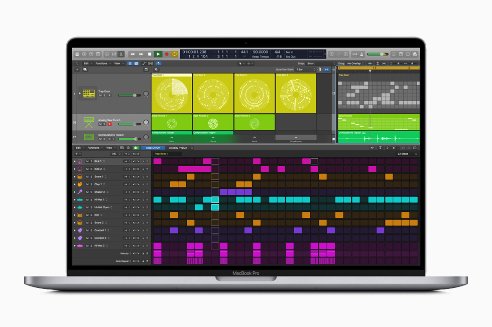 Strumento Step Sequencer di Logic Pro X su MacBook Pro.