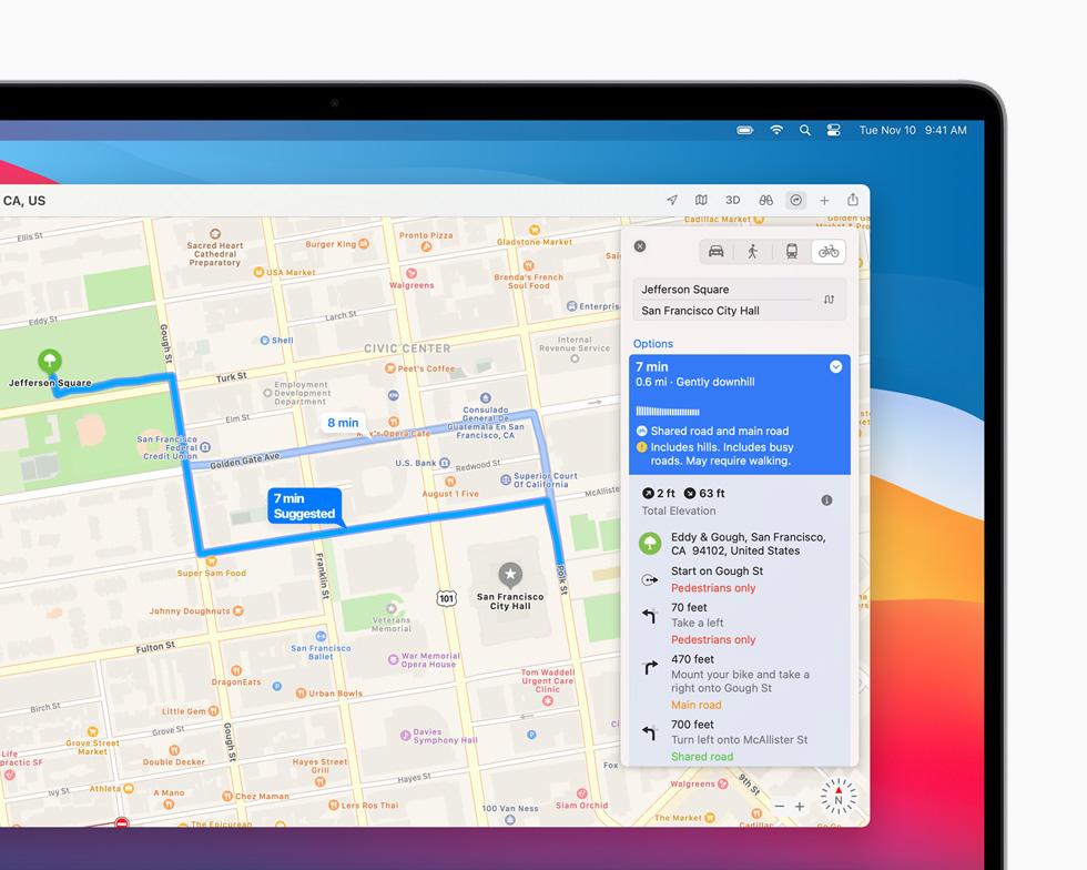 En cykeltur i San Francisco som har kartlagts och planerats i appen Kartor visas på MacBook Pro.
