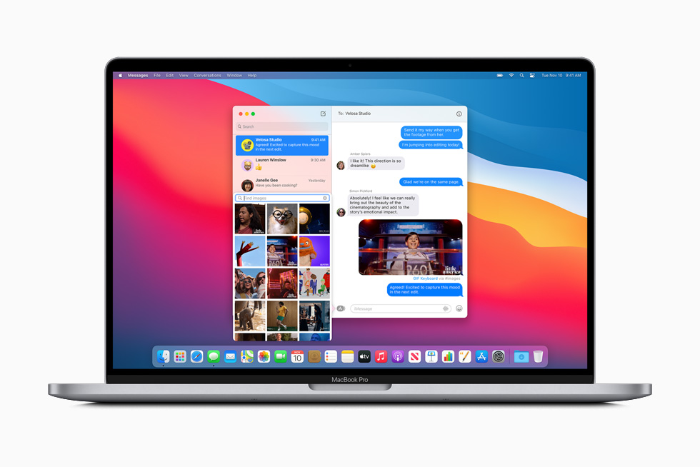 A photo shared to a group via Messages is displayed on MacBook Pro.
