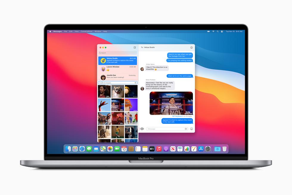 En bild som har delats med en grupp via Meddelanden visas på MacBook Pro.