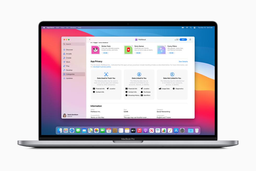 Pal-appens sammanfattning av deras integritetspolicy visas på MacBook Pro.