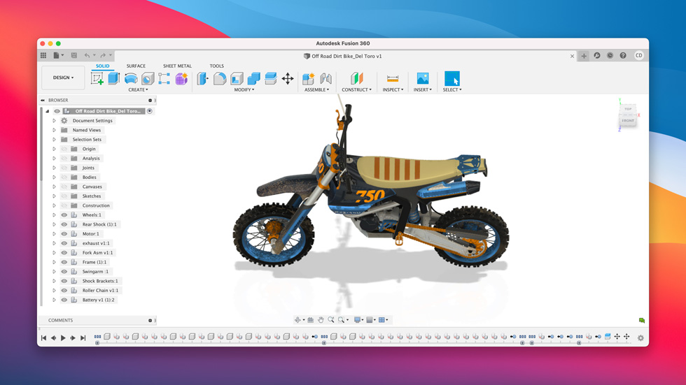 Design software Fusion 360 is displayed on the Mac.