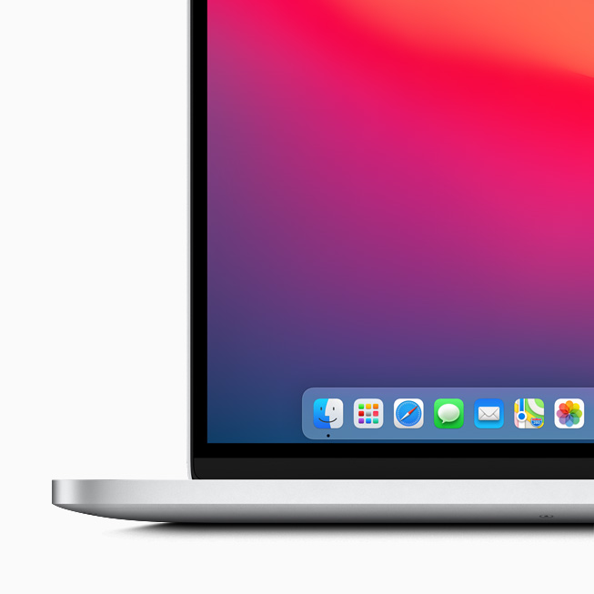 The new Dock in macOS Big Sur displayed on MacBook Pro.