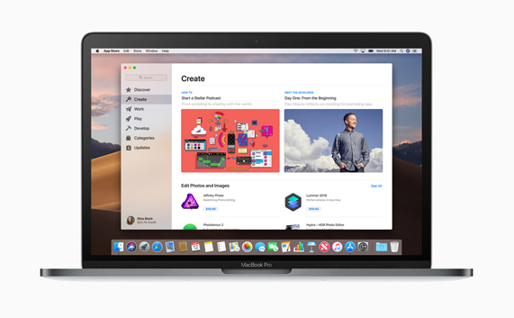 Create page on new Mac App Store, on MacBook Pro desktop.