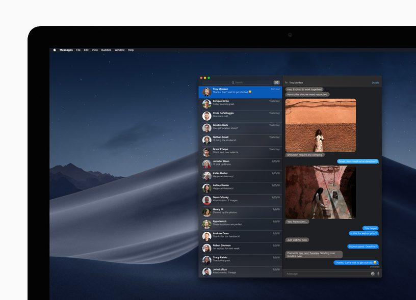 Messages app in Dark Mode on Mac desktop.