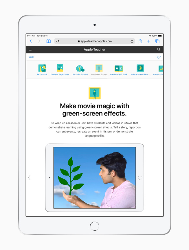 Una lezione sugli effetti green screen in Apple Teacher Portfolio su iPad.