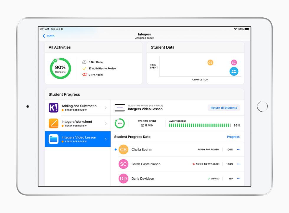 L'app Pour l'école sur iPad.
