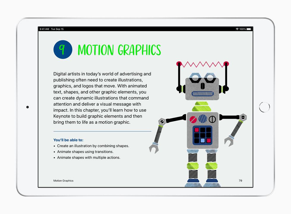 A motion graphics lesson from the Everyone Can Create curriculum, displayed on iPad.