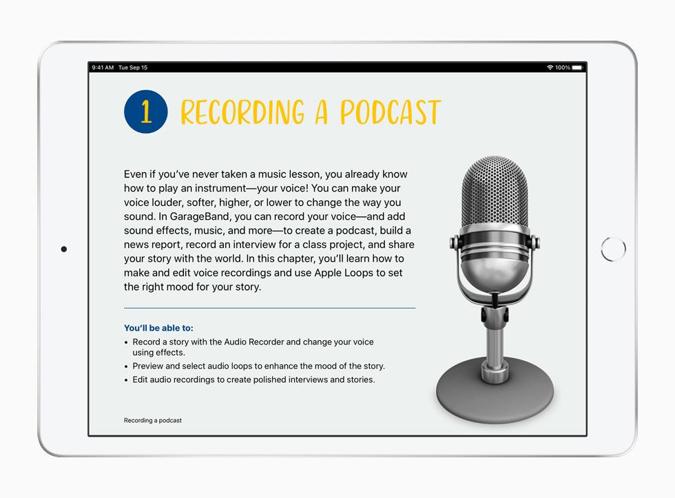 Aula sobre podcasts, do currículo Criatividade para Todos, mostrada no iPad.