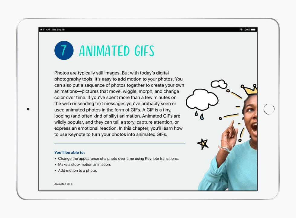 Une activité sur les GIF animés, tirée du programme La créativité pour tous sur iPad.