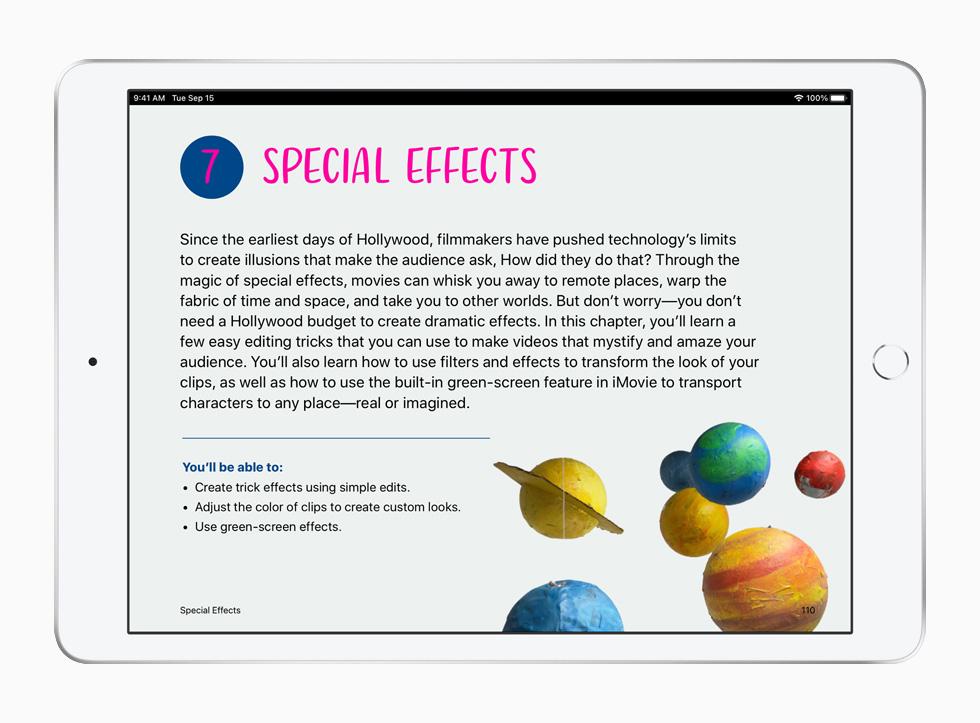 Aula sobre efeitos especiais, do currículo Criatividade para Todos, mostrada no iPad.