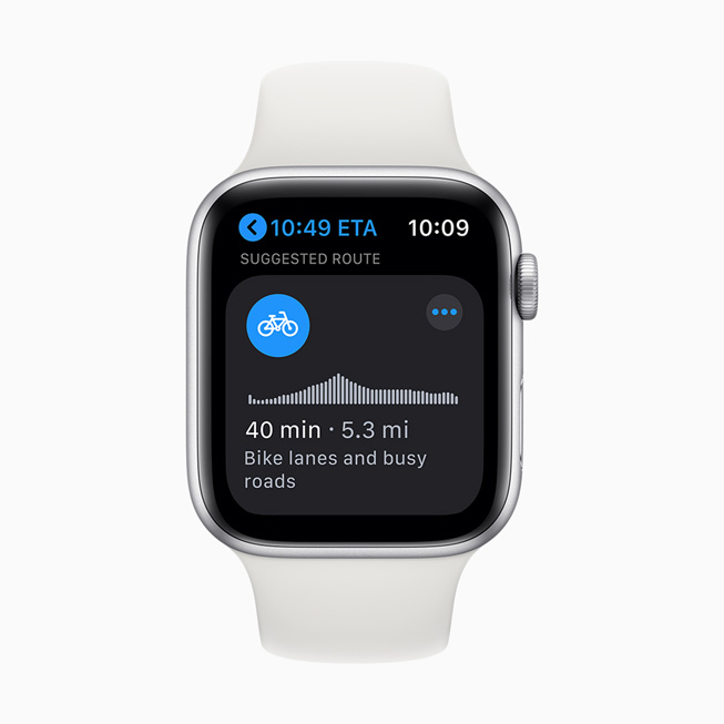 A cycling route displayed on Apple Watch Series 5.