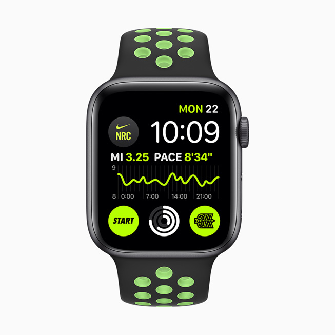 Nike Run Club complications displayed on Apple Watch Series 5.