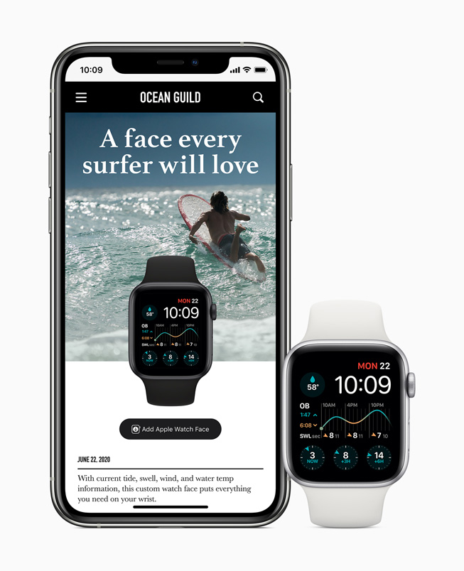 A watch face customised for surfing is shared on iPhone 11 Pro and displayed on Apple Watch Series 5.