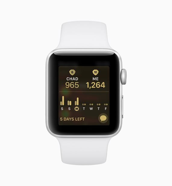 White Apple Watch displaying activity competition software between two people