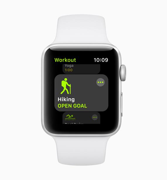 ホワイトのApple Watchに表示されている新登場のハイキングのワークアウトの画面