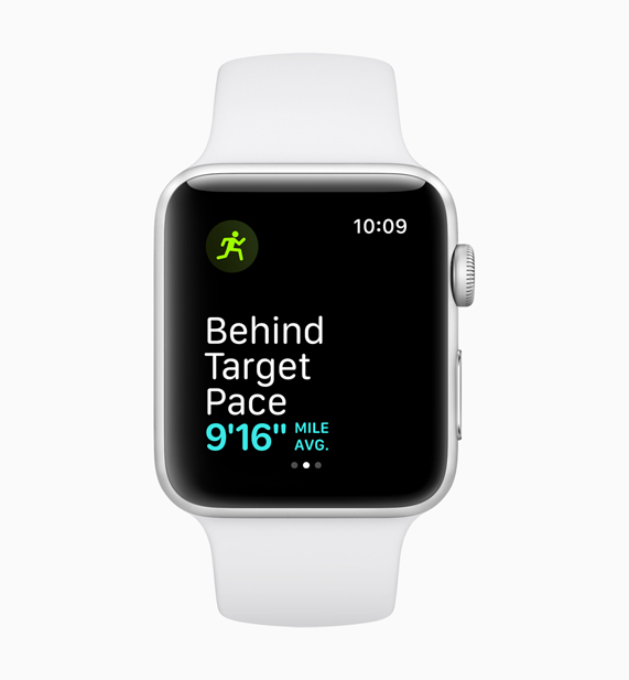 A White Apple Watch displaying the behind target mile pace feature