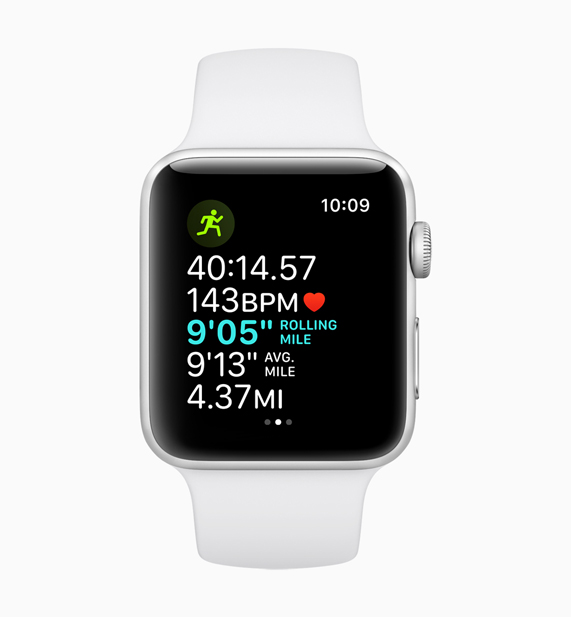 A White Apple Watch displaying the rolling last mile pace feature