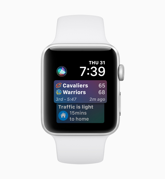 Apple Watch displaying Siri sports software screen