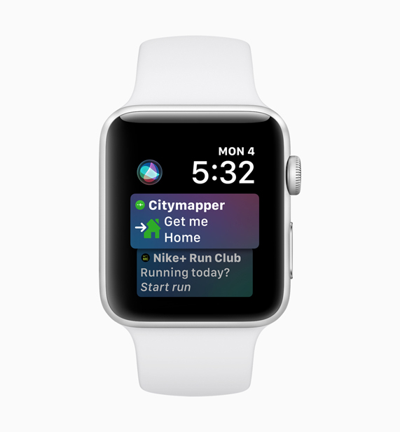 Apple Watch displaying Siri Citymapper and Nike+ Run Club screens