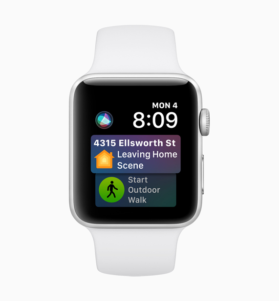 Apple Watch displaying Siri scheduling software interface