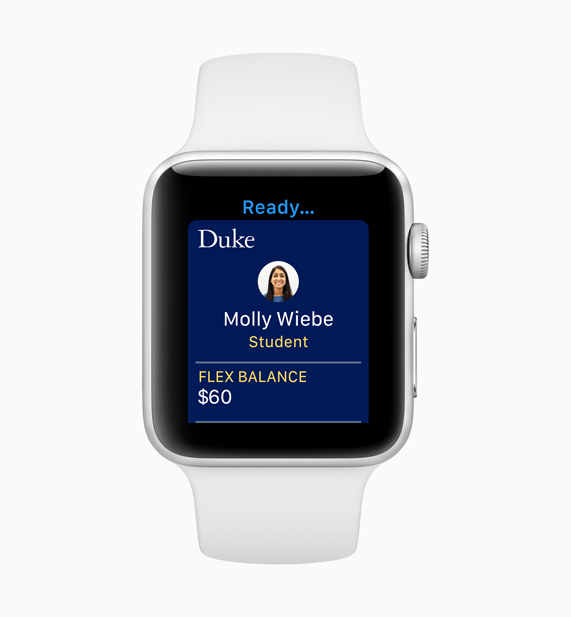 White Apple Watch demonstrating the screen of the new Student ID feature