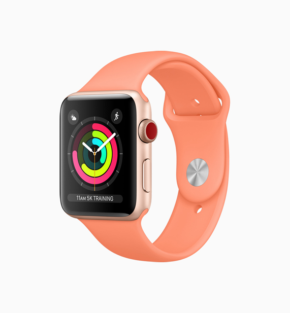 Apple Watch with a new peach band
