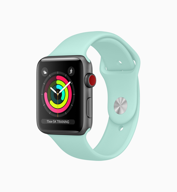 Apple Watch with a new marine green band