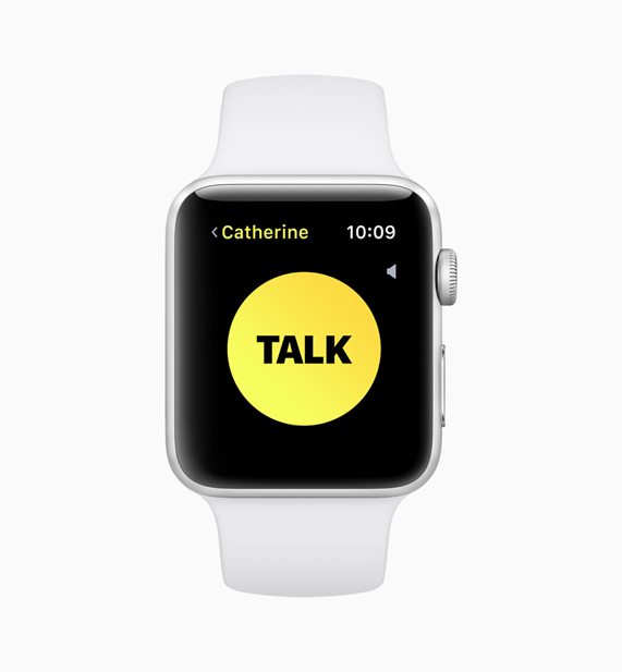 An Apple Watch displaying the new walkie-talkie feature screen