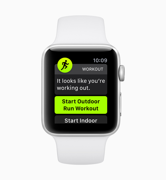 White Apple Watch demonstrating the new auto-workout detection feature start