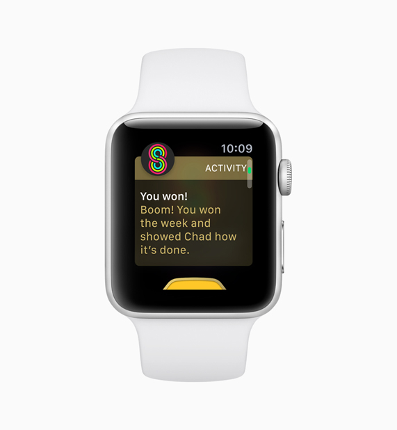 White Apple Watch displaying user winning activity competition
