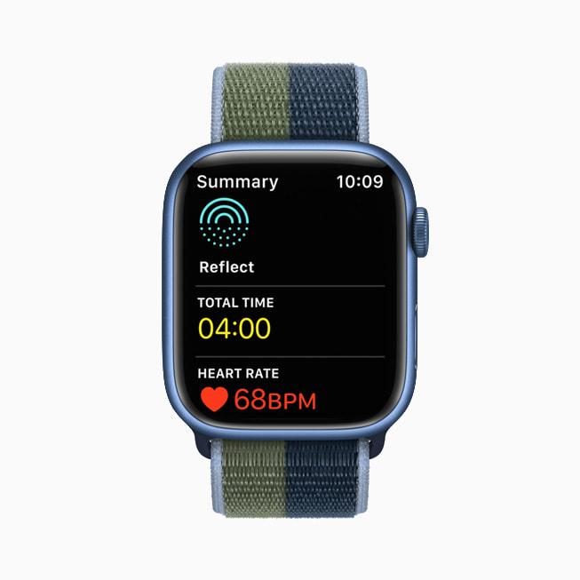 Una meditazione aperta nell'app Mindfulness su un Apple Watch Series 7.
