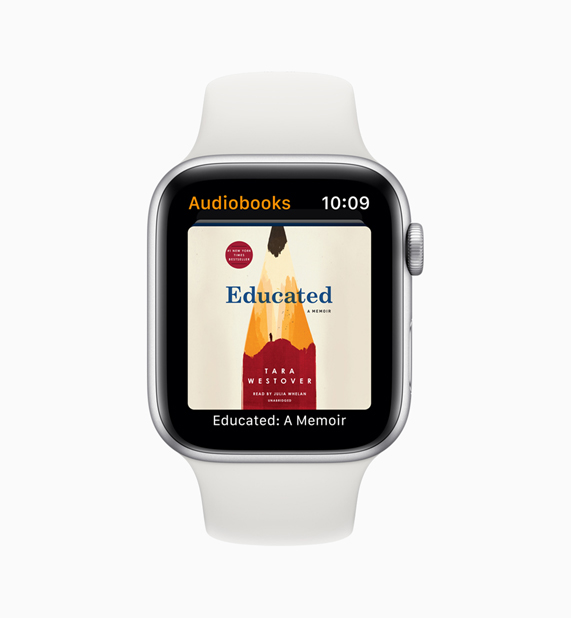 White Apple Watch with audiobooks app.