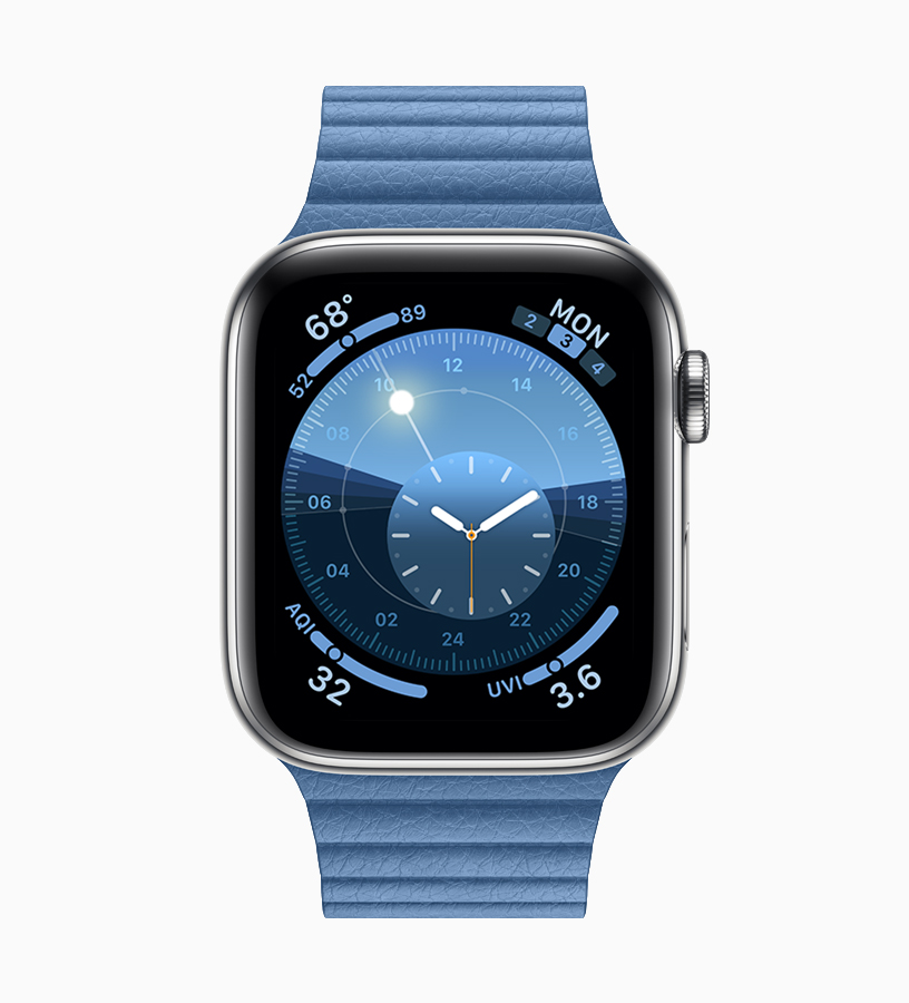 Apple Watch with watch band in Cornflower.
