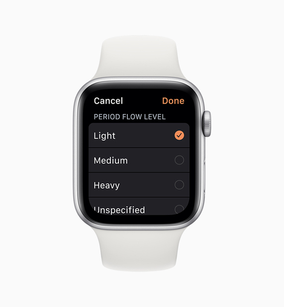 Cycle Tracking app on Apple Watch showing period flow menu.